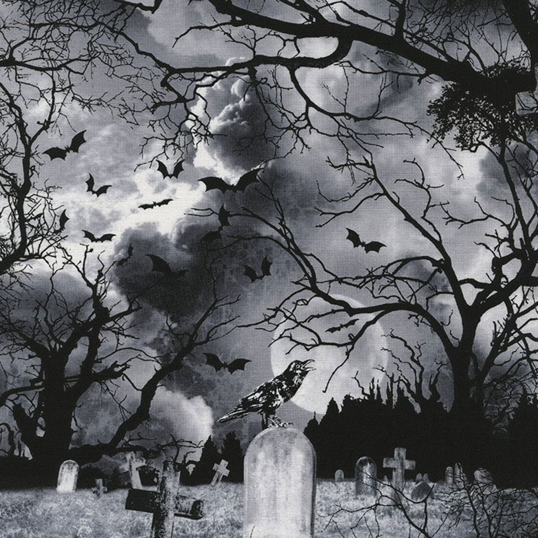 Timeless Treasures Wicked Eve Graveyard At Night Black Cotton Fabric