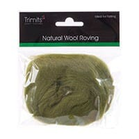 Natural Wool Roving, Lime, 10g Packet