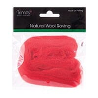 Natural Wool Roving, Red, 10g Packet