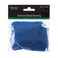 Natural Wool Roving, Sapphire, 10g Packet