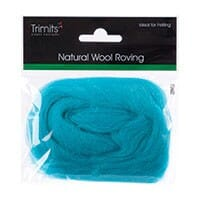 Natural Wool Roving, Turquoise, 10g Packet