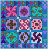 patchwork quilting example blue